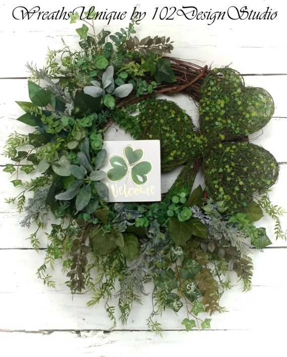 LARGE St. Patrick's Day Wreath,Saint Paddys Wreath,Welcome St. Patrick's Wreath,Shamrock Wreath,Woodland Shamrock,Front Door St. Patrick's