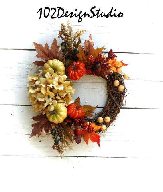 Fall Wreath, Autumn Wreath,Front Door Fall Wreath, Door Fall Hydrangea Door, Thanksgiving Wreath,Fall Wreath with Pumpkins and berries