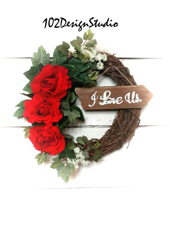 LOVE US Wreath,Valentine Wreath,Romantic Wreath,Heart Wreath,Mother's Wreath,Spring Wreath,Valentine Front Door Decor,Valentine's Day