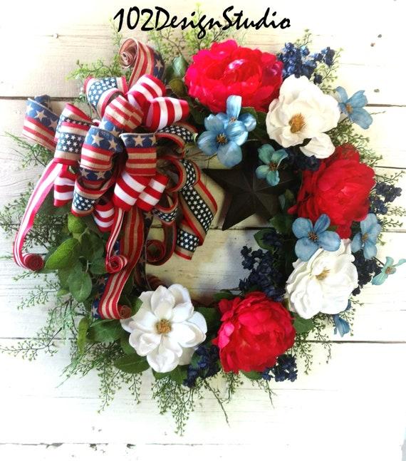 Patriotic Star Wreath,Military Wreath,Veteran's Wreath,July 4th Wreath,Front Door Patriotic Wreath,Patriotic Swag,July 4th Swag,Star Wreath