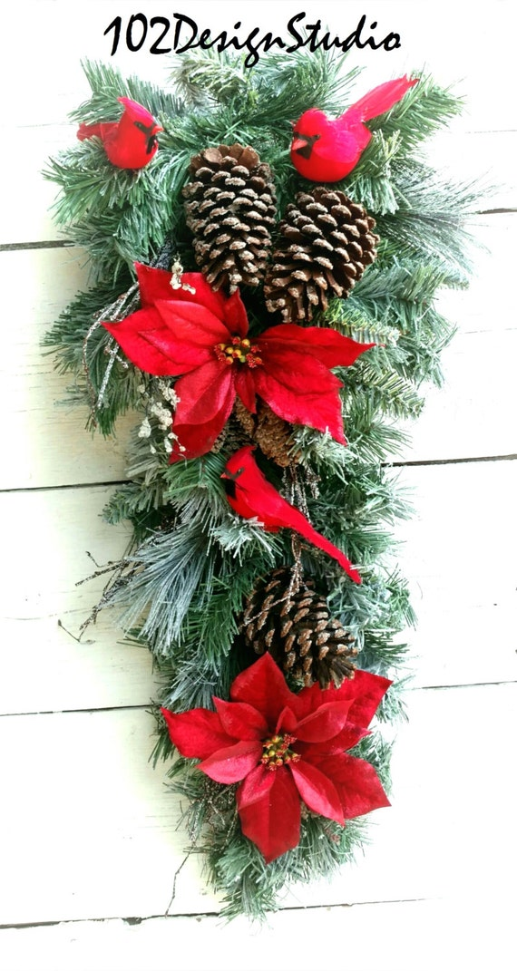 SALE! Cardinal Swag,Winter Swag,Christmas Swag, Winter Wreath, Traditional Winter Swag Cardinal Wreath, Winter Wreath