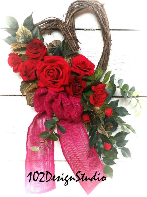 Heart Wreath, Red Rose Heart Wreath, Valentine Wreath,Front Door Valentine, Valentine Wall Decor, Etsy Valentine Wreath. Valentine Swag
