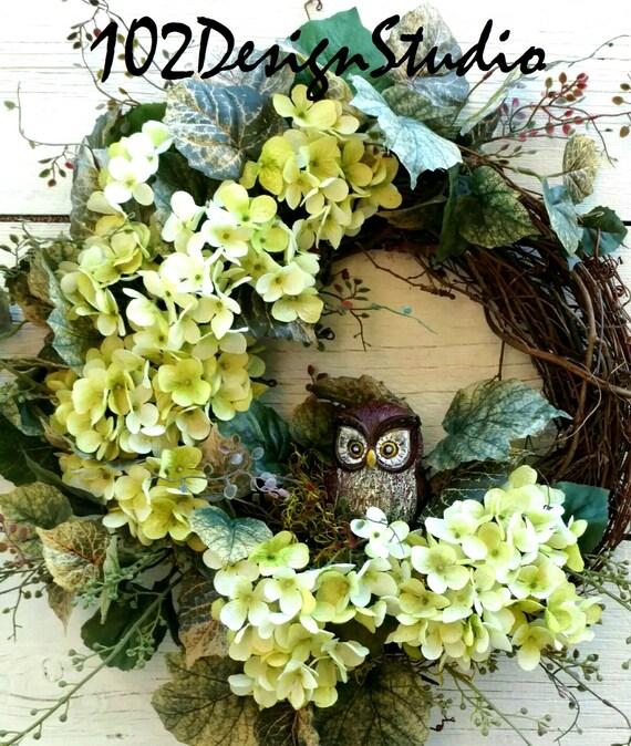 OWL WREATH, Woodland Wreath, Nature Wreath, Green hydrangea Wreath, Etsy Wreath, All Season Wreath Wreath, Spring Wreath, Summer Wreath