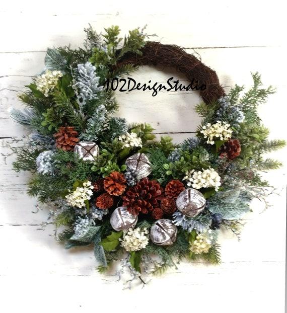 Winter Lodge Wreath,Winter Cabin Wreath,Bell Rustic Wreath,Bell Winter Wreath,Woodland Wreath,Cottage Wreath,Farmhouse Wreath,Lodge Wreath