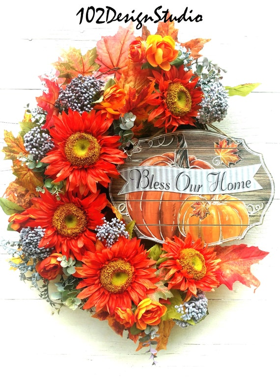 Fall Wreath, Etsy Fall Wreath,Bless Our Home, Etsy Fall Wall, Fall Swag, Etsy Fall Swag, Front Door Fall Wreath, Front Door Fall