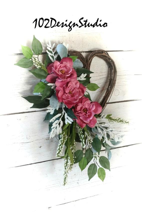 Heart Wreath, Heart Swag,Spring Wreath,Summer Wreath,Front Door Spring Wreath,Front Door Summer Wreath,Etsy Spring Wreath
