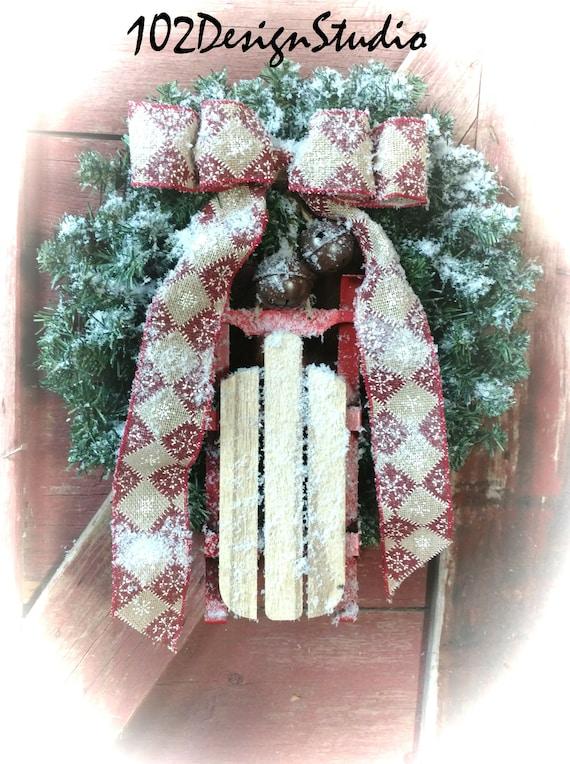 Christmas Wreath, Sled Wreath, Winter Wreath, Winter Swag, Sled Decor, Sled Swag, Winter Door Decor