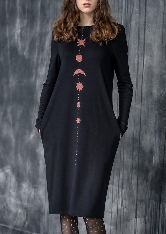 goth dress/black dress/moon dress/neopagan dress/plus size dress/long dress