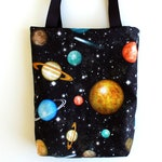 Outer Space Fabric Gift Bag- Planets on Black, Set of 4