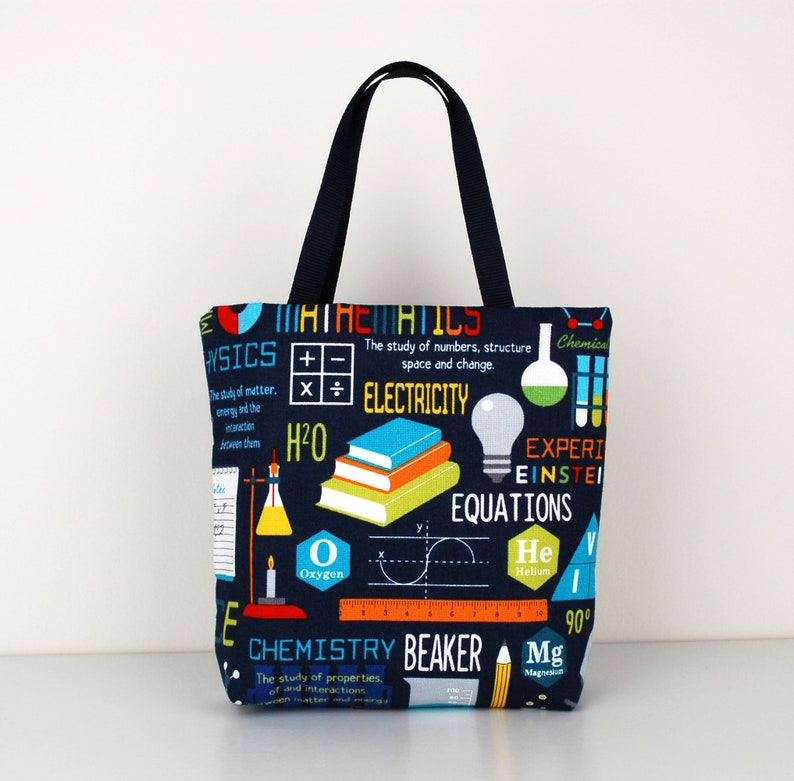 Science Fabric Gift Bag Chemistry Biology Physics and Math image 0
