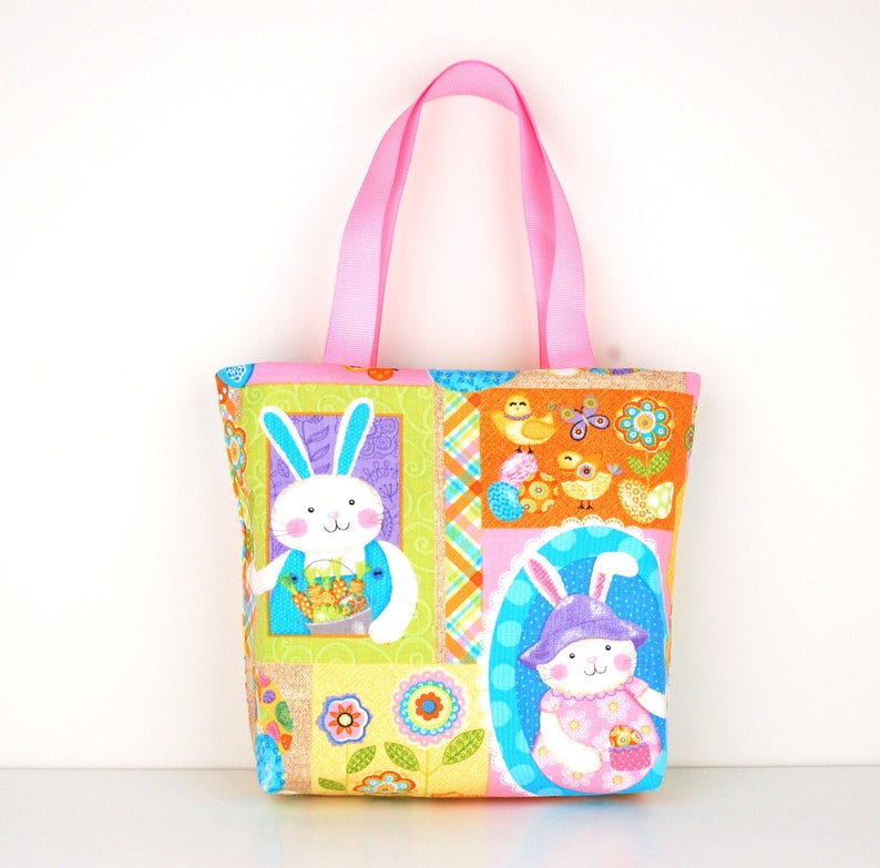 Easter Fabric Gift Bag Small Tote Carrot Patch Bunnies image 0
