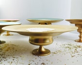 Wedding Cake Stand Pale Yellow and Gold 10 1 4 quot dia. Handmade