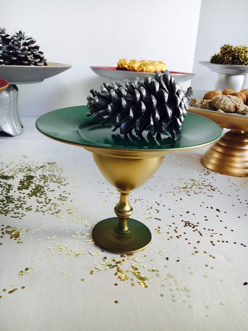 Handmade Wedding  Cake Stand in Winter Green and Gold 6 18 dia