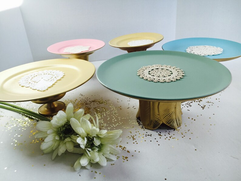 Handmade Wedding Cake Stand Pale Yellow and Gold  10 14 dia