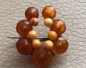 Antique Amber Brooch Egg ...