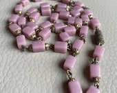 1930s Glass Necklace Pink...