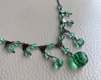 1930s Green Glass Necklace Dropper Necklace Dangle Necklace Vintage NecklaceLink Necklace 1920s 16 Inches Glass Beading Art Deco Geometric