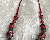 Millefiori Necklace Red G...