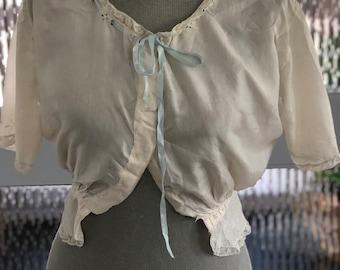 339c3036730 1920s Silk Camisole Cream Blue Lace Ribbon Antique Vintage 1930s Chemise  Lingerie Bodice J A Eadles