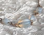 1920s Glass Necklace Opal...