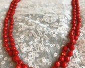 Red Glass Necklace Vintag...