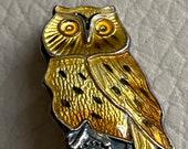 Enamel Silver Owl Brooch ...