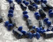1930s Glass Necklace Blue...