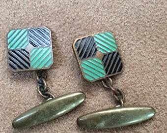 Vintage Retro Mid Century Enamel Brass Green Black Mens Chain Cufflinks