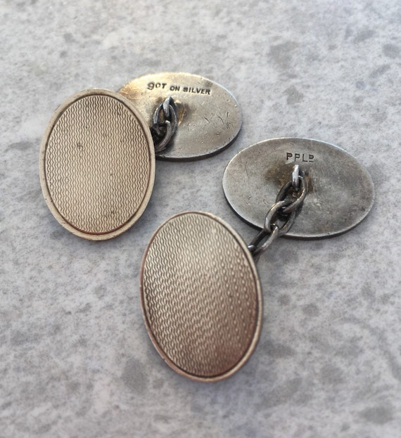 Vintage chain cufflinks metal celluloid foil glass art deco NOS