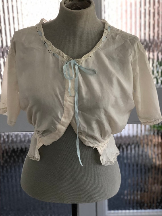 1920s Silk Camisole Cream Blue Lace Ribbon Antique