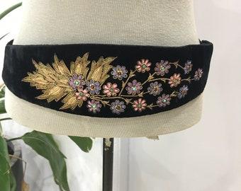 Vintage Cummerbund Embroidered Belt Jewelled Cummerbund Ladies Cummerbund Vintage Ladies Evening Wear Black Velvet 1940s