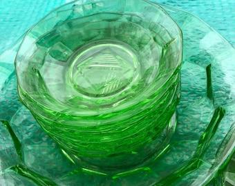 1930s Dishes Plates Bowls Set 13 Green Glass Geometric Vintage Retro Art Deco