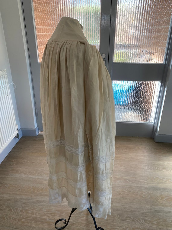 Antique Opera Cape Cream Silk Cloak French Lace Ca