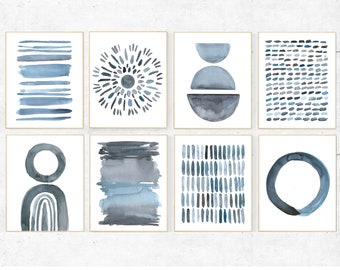 Blue Abstract gallery wall prints, set of 8 blue watercolor abstract prints, modern wall art prints, blue gray abstract print set of 8