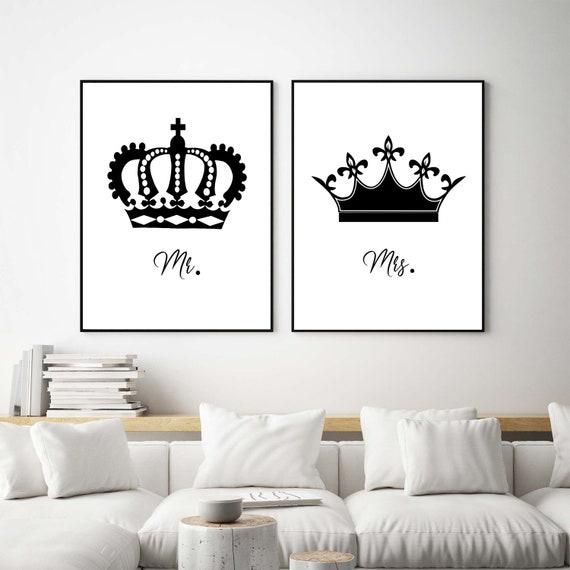 Bedroom wall art set, King and queen print bedroom set, Mr and Mrs wall art  set, Minimalist bedroom wall art, Master bedroom wall art,