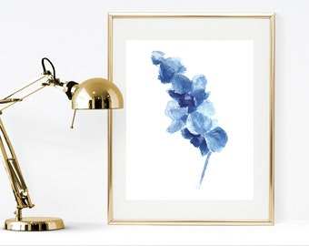 Blue flower watercolor printable art, Orchid watercolor flower, Instant download digital print, blue home decor watercolor flower painting