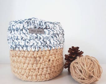 Mini Basket --Twine Basket, Nesting Basket, Rustic, Home Decor, Storage Basket, Crochet Basket