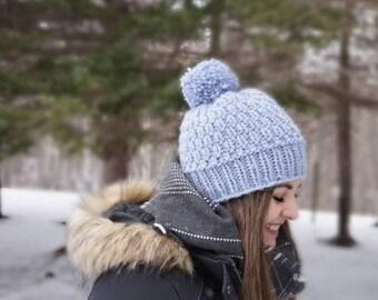 Snow Drift Hat - knit pom-pom winter hat