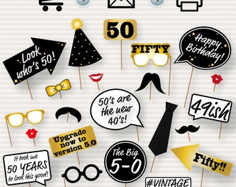 50th Birthday Party Printable Photo Booth Props