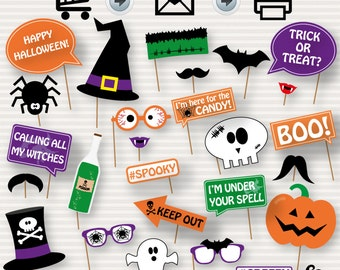graphic relating to Halloween Photo Booth Props Printable Free known as Halloween photobooth Etsy
