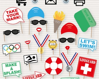 c31ab9e759 Swim Team Party Printable Photo Booth - Swim Party - Olympics Props -  Swimming and Diving Props - Pool Photo Booth Props - Printable - DIY
