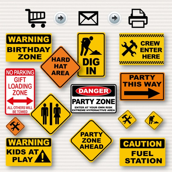 construction birthday party signs party signs construction etsy
