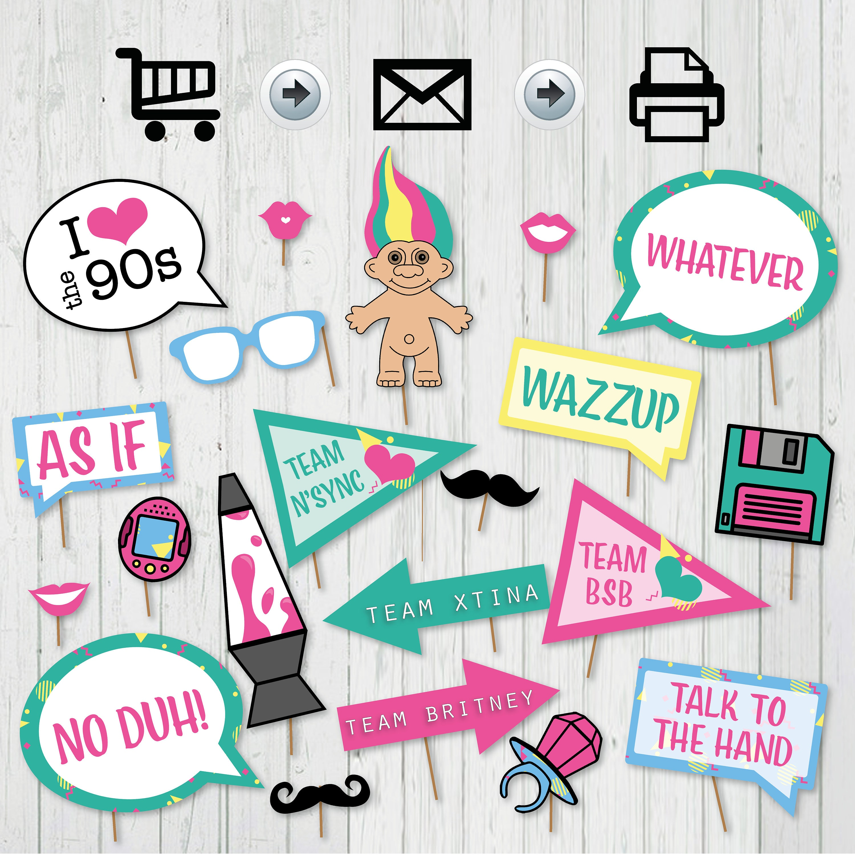 90 S Party Printable Photo Booth Props Signs Instant Etsy