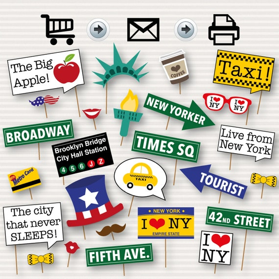 New York Party Photo Booth Printable Props New Yorker Themed Etsy