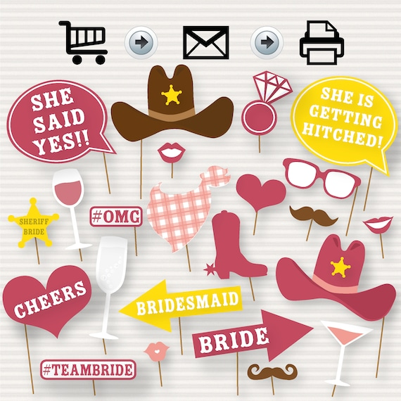 Cowgirl Bridal Shower Printable Photo Booth Props Bridal Etsy