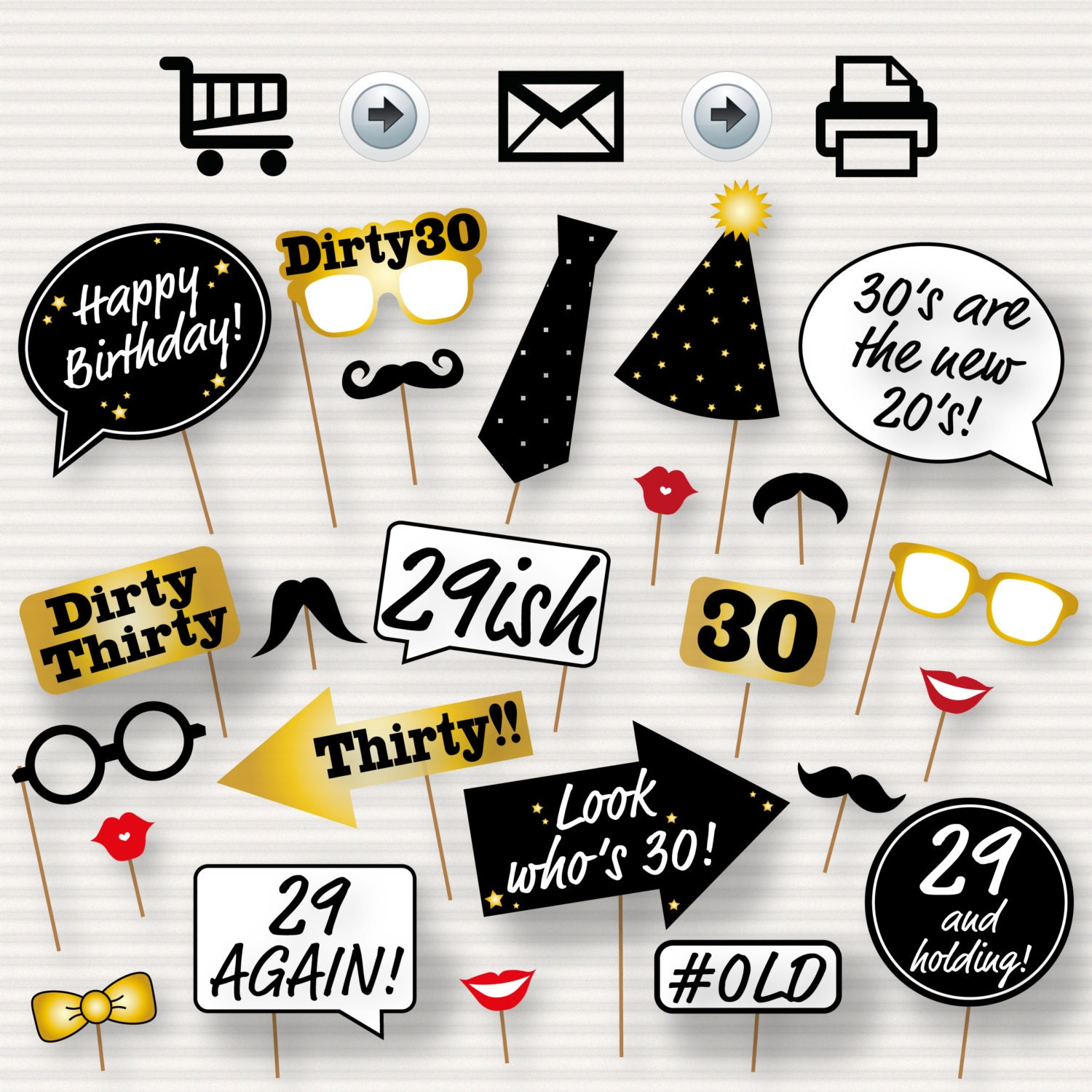 30th Birthday Party Printable Photo Booth Props Glasses Etsy