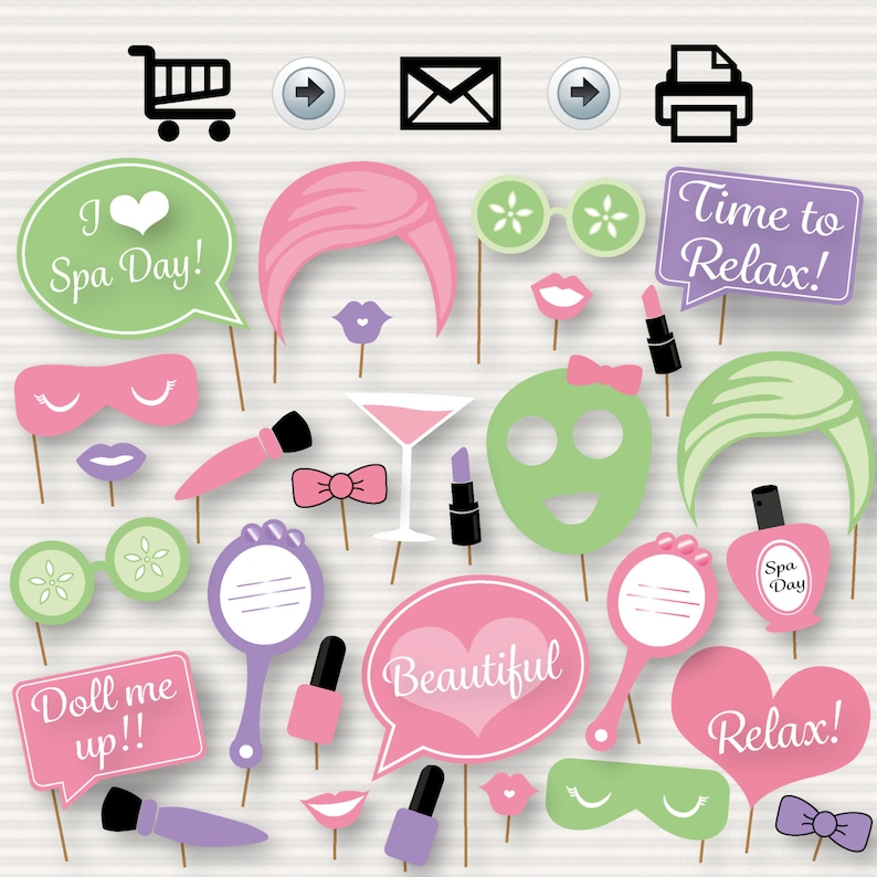 graphic regarding Spa Party Printable named Spa Working day Bash Printable Picture Booth Props - Immediate Down load - Spa Social gathering - Spa Working day - Rest Sleepover Manicure Pedicure- Spa Birthday Get together