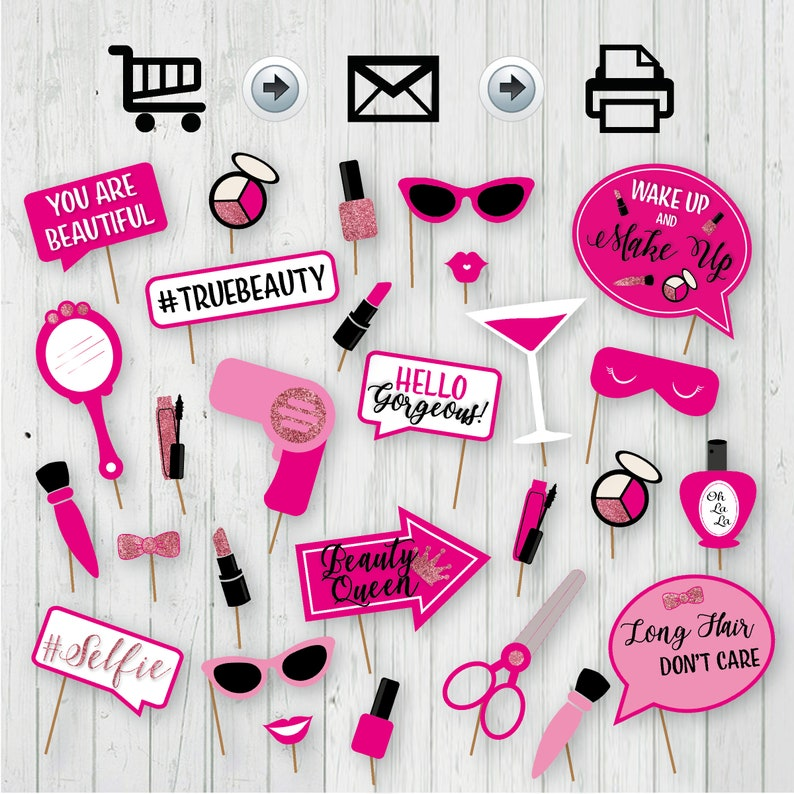 Girly Party Makeup Photo Booth Props Instant Download -DIY Salon Photo Booth Props Beauty Party Props Beauty Photo Booth Printable Props