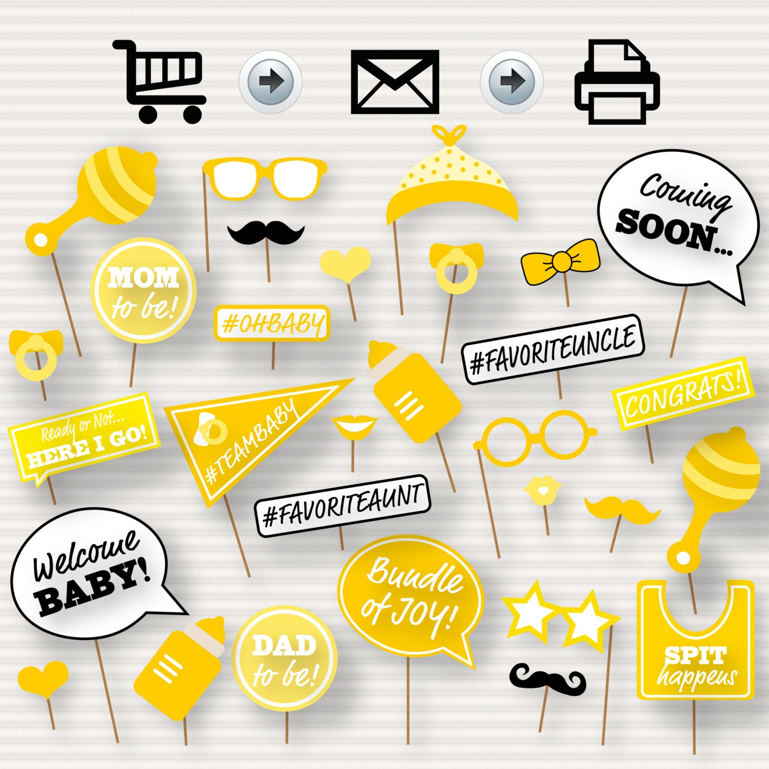 photo regarding Baby Shower Photo Booth Props Printable known as Boy or girl Shower Printable Picture Booth Props - Boy or girl Shower Photobooth Props - Yellow Little one Shower Printables - Gender Impartial Photograph Booth -impartial