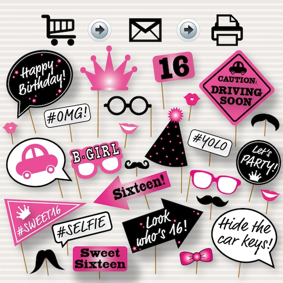 Sweet 16 Photo Booth Printable Props Sixteen